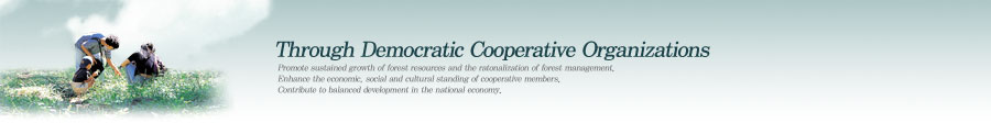 Through Democratic Cooperative Organizations - Promote sustained growth of forest resources and the ratonalization of forest management. Enhance the economic, social and cultural standing of cooperative members. Contribute to balanced development in the national economy.